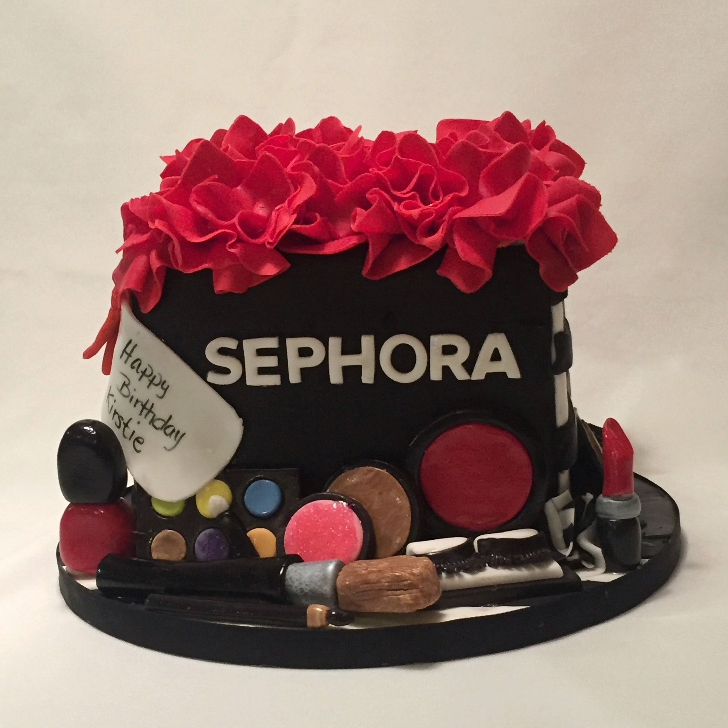 Sephora gift bag cake. Complete with edible makeup ...