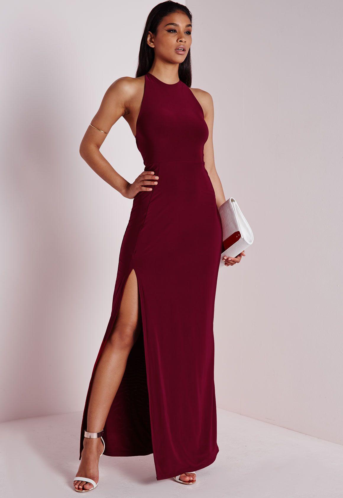 Slinky Side Split Maxi Dress Burgundy, Burgundy   FashionToDieFor ...