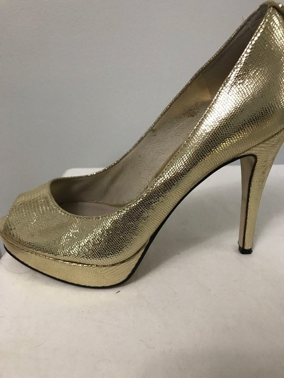 Gold Lame' Stiletto Platform Heel Michael Michael Kors York Peep Toe Women US 7