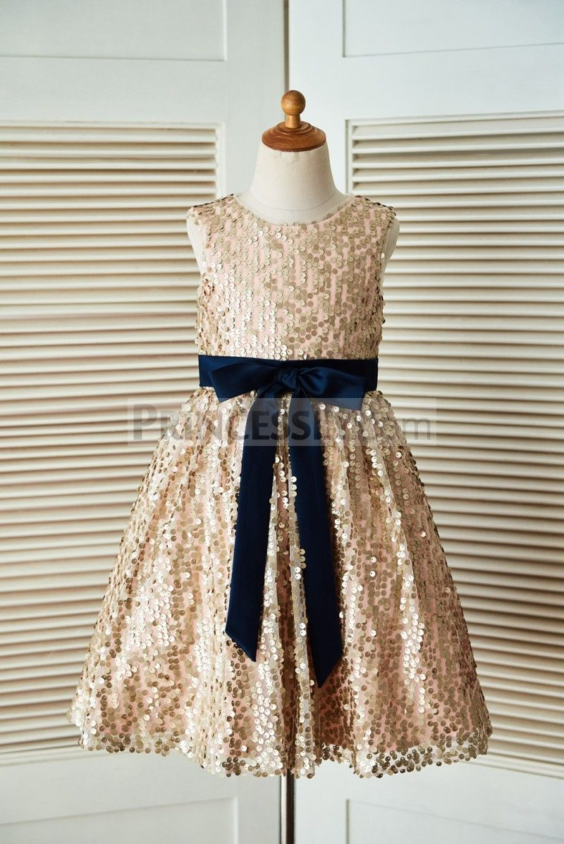 bfcaa5a4627 Champagne Gold Sequin Wedding Flower Girl Dress with Navy Blue Belt ...