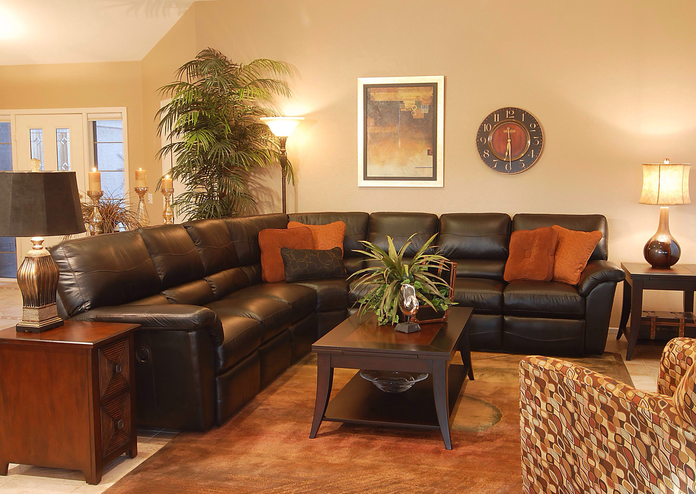 La Z Boy Reese Sectional Dark Brown Leather Brown Living Room