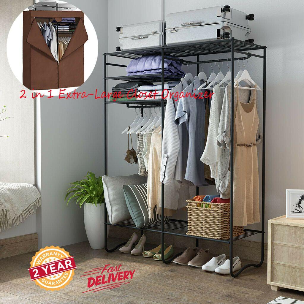 2 In 1 Metal Wardrobe Closet Storage Organizer Clothes Shoes