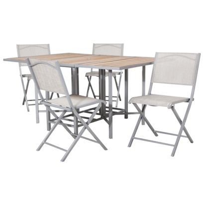 Bryant Sling Stowable Folding Patio Dining Furniture Set Think This Is Going To Look Great On The We Ll Have Get A Fun Colored Umbrella Too