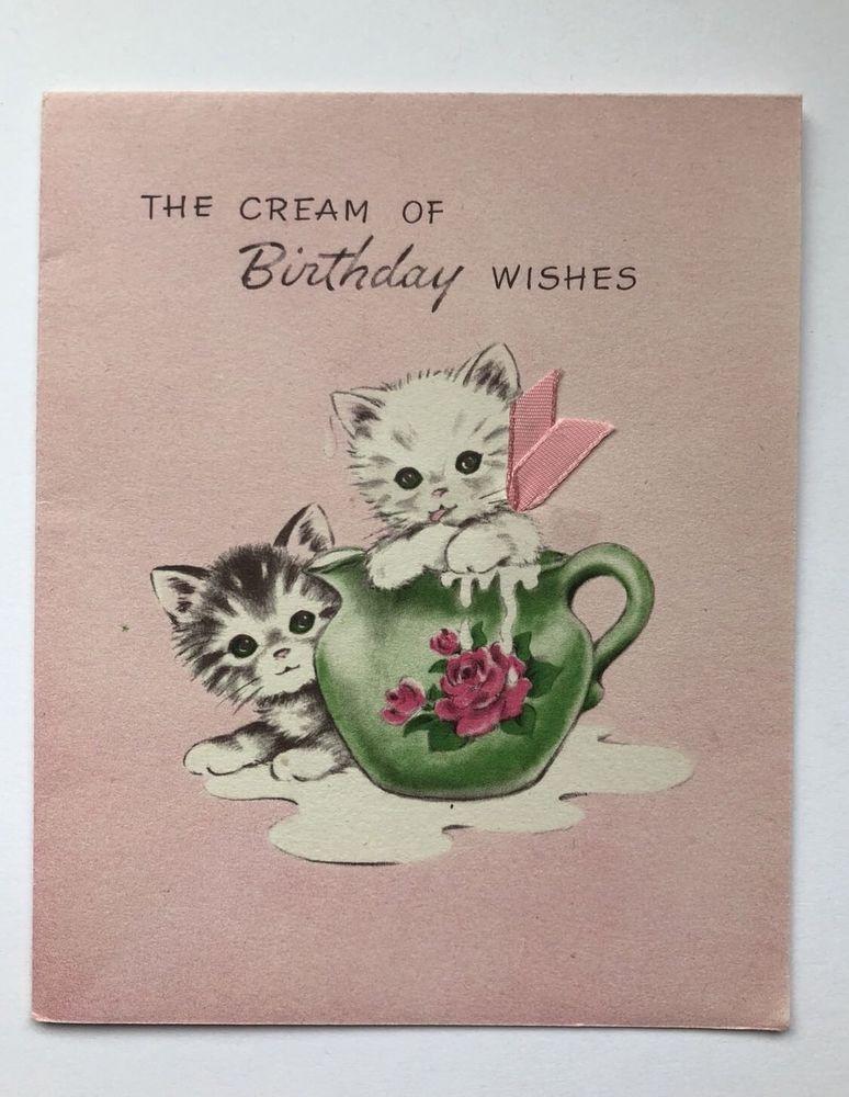 Vintage Norcross Birthday Card Kitty Cat Kitten Pink Rose Milk