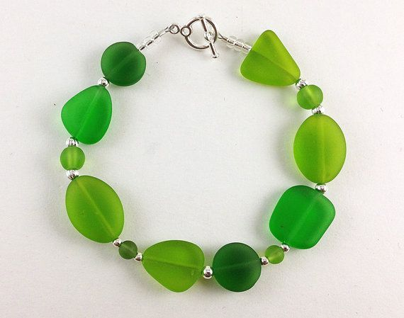 Green sea glass bracelet sea glass jewelry Irish bracelet St Patricks day jewelry Irish jewelry green bracelet handmade jewelry Kelly beaded
