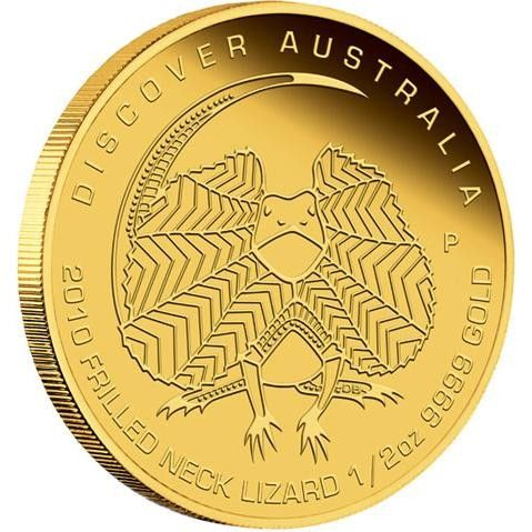 Discover Australia 2010 Frilled Neck Lizard 1 10oz Gold Coin Gold Coins Buy Gold And Silver Gold Bullion Bars