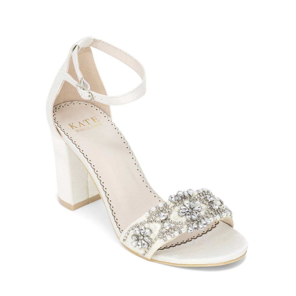Aerin Champagne Bridal Shoes Pearl And Rhinestone Wedding Shoes Heels Ivory Wedding Shoes Wedding Shoes Block Heel