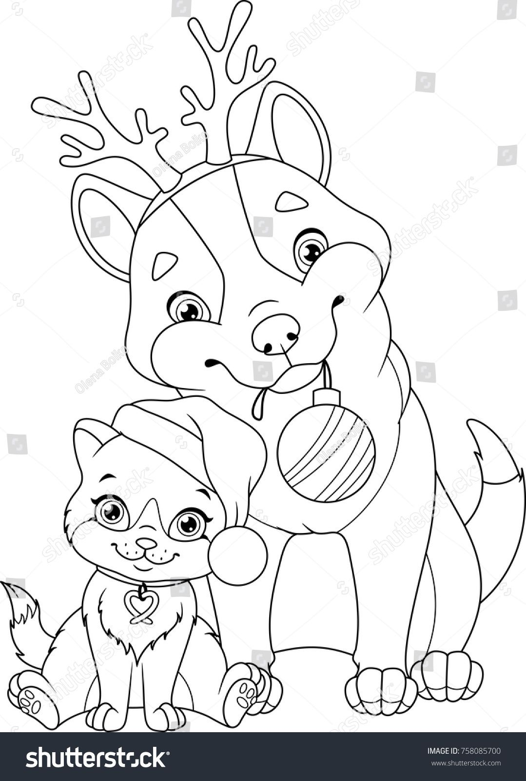Christmas Dog Cat Coloring Page Stock Vector Royalty Free 758085700 Dog Coloring Book Dog Coloring Page Cat Coloring Page