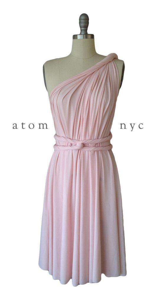 Blush Pink Infinity Dress Convertible Formal Multiway Wrap Dress Bridesmaid Dress Toga Dress Cocktail Dress Evening Dress Short by AtomAttire on Etsy https://www.etsy.com/listing/204638651/blush-pink-infinity-dress-convertible