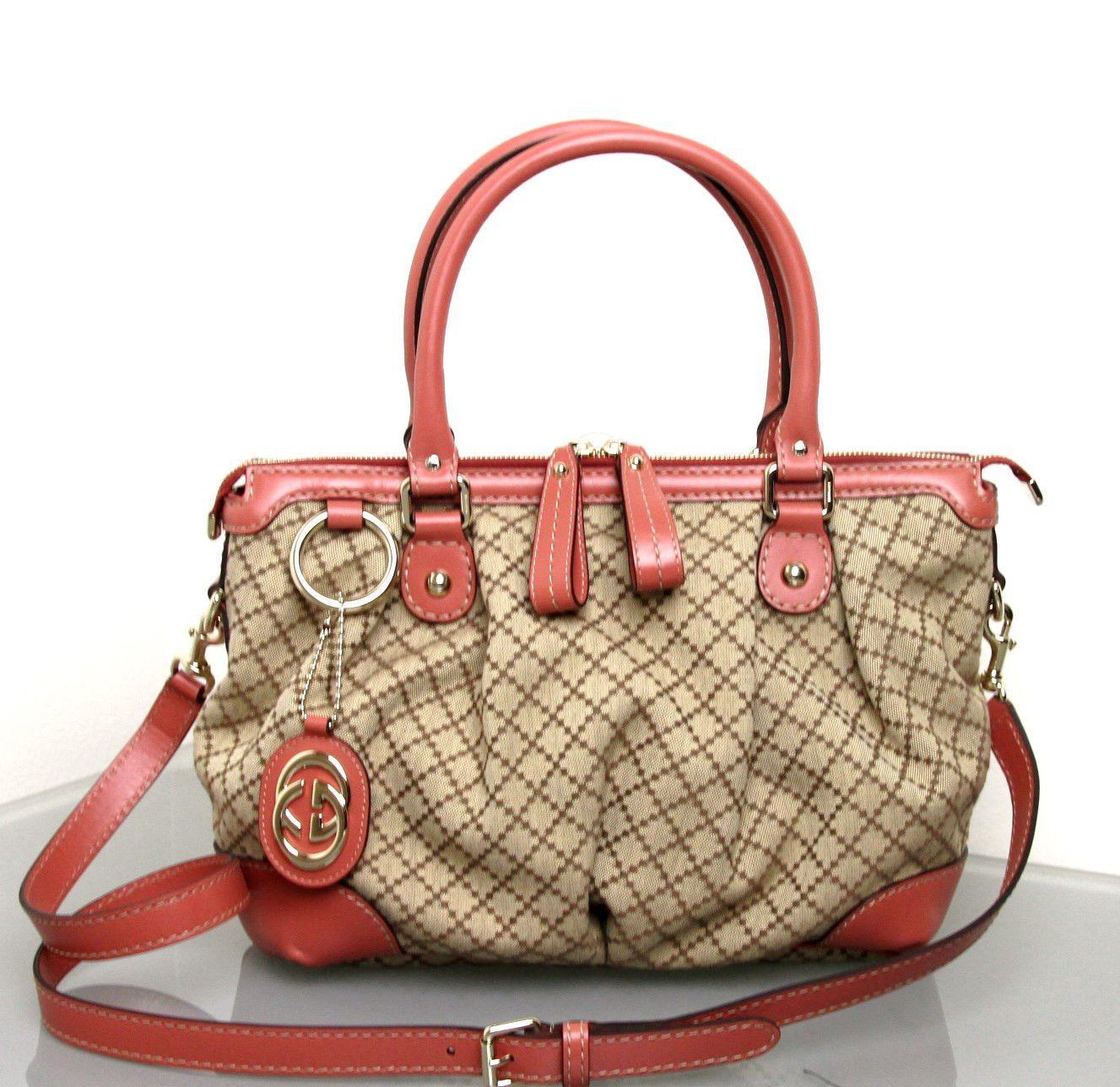 e95f00c8d34ff5 NEW Authentic Gucci Sukey Diamante Canvas Tote Messenger Bag Handbag 247902