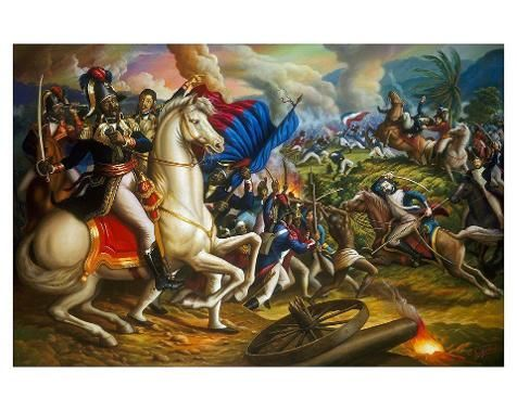 Jean Jacques Dessalines, Alexandre Petion and Henry Chirstophe during the Vertieres Battle, the last battle for Haiti independence