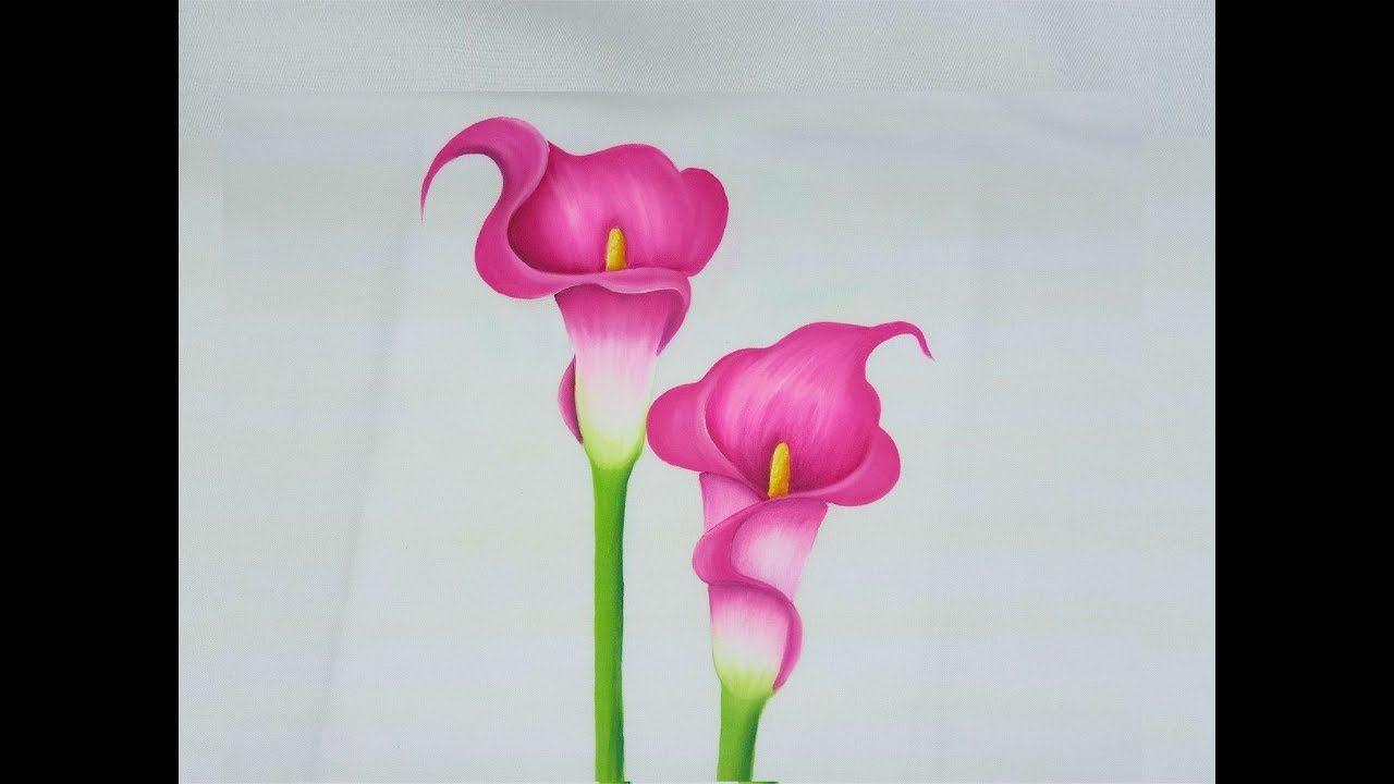 Como Pintar Flores Alcatraces Rosas - YouTube