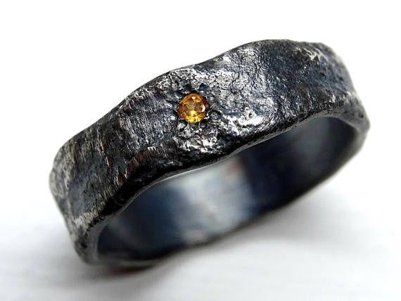 fed4a8a9b78364 molten silver ring gemstone, mens wedding ring unique, viking wedding ring  meteorite wedding band me