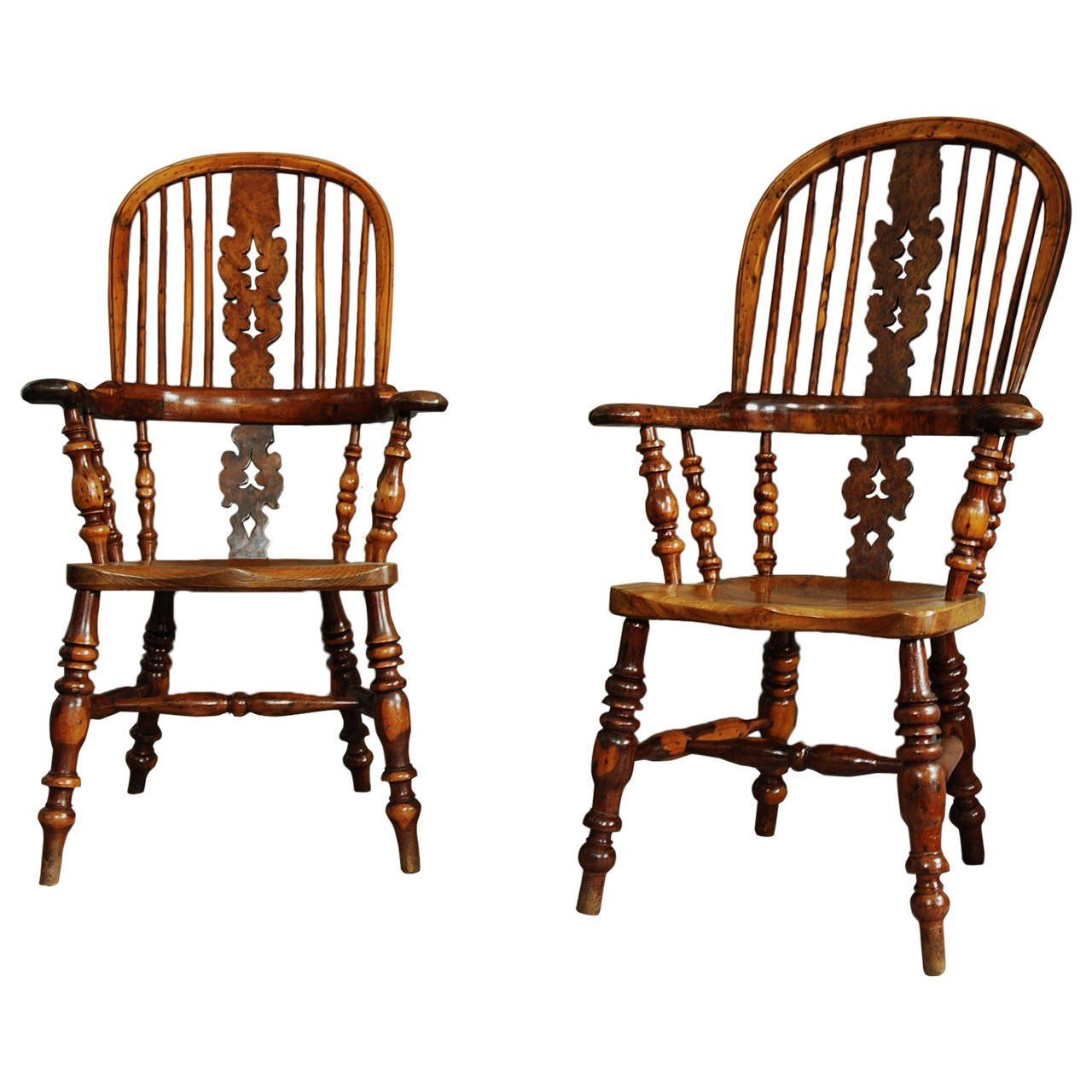 High back antique chairs - Pair Of Broad Arm Burr Yew Wood High Back Windsor Chairs See More