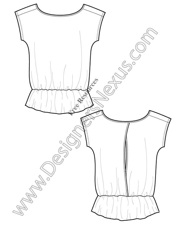 V8 Knit T-Shirt Tunic Template Free Illustrator Fashion Flat Sketch ...