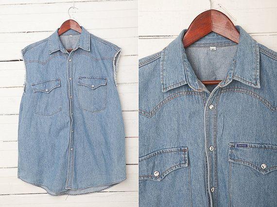 1980s Light Blue Vintage Denim Sleeveless Shirt by MrCoverVintage, $28.00
