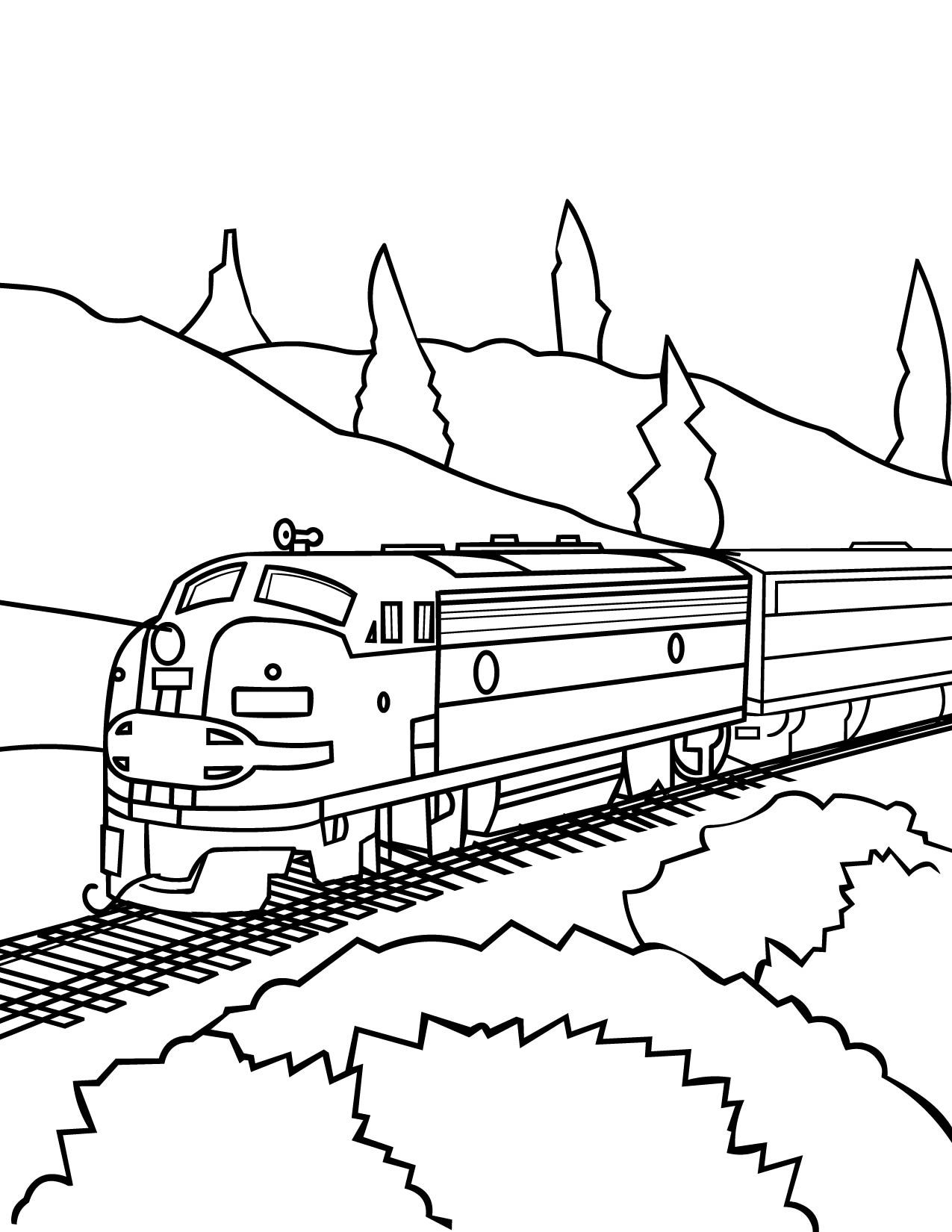 Free printable coloring book pages connect the dot pages for Train coloring book pages