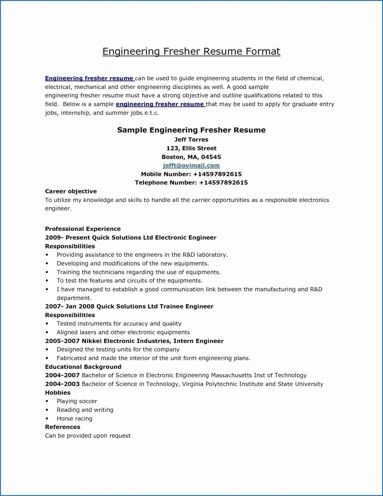 11 Resume Samples for Mechanical Engineering Students