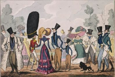 The Fashionable In Hyde Park 19th C Satiric Poem Caricature