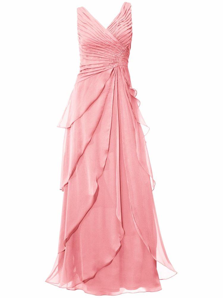 Heine Abendkleid Damen Rose Grosse 34 Abendkleid Chiffon Abendkleider Und Mode