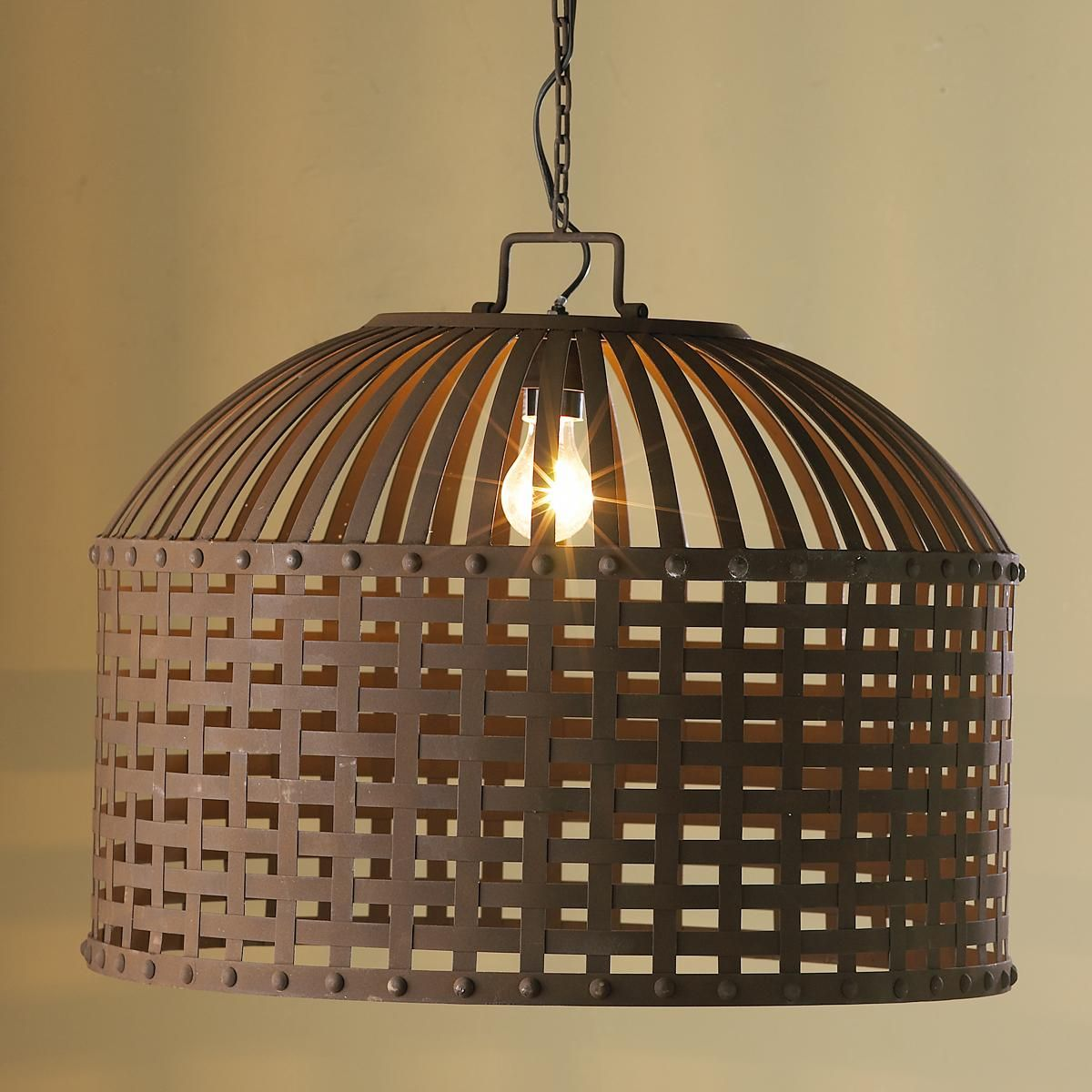 Neo Rustic Kitchen: Rustic Strapped Metal Barrel Lantern: Two Would Be Perfect