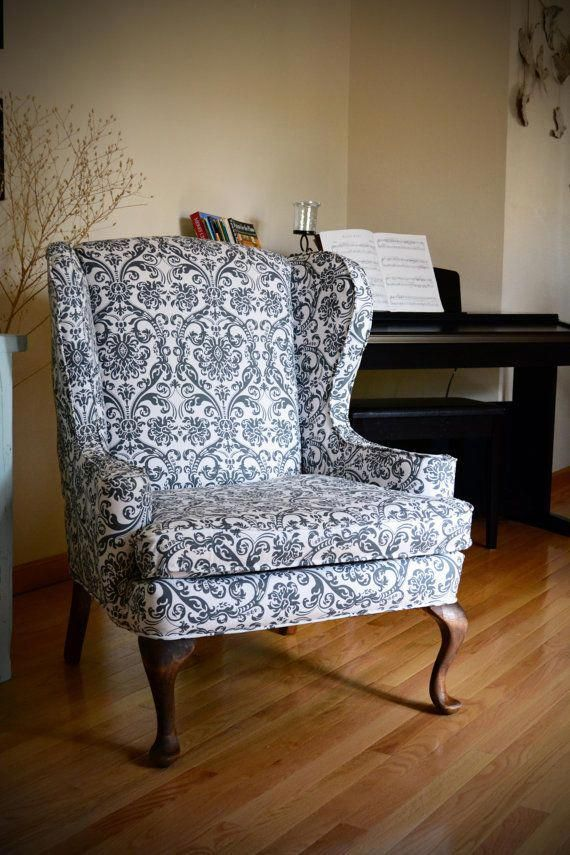 Refinished Wing Back Arm Chair by hammerandcloth on Etsy # ...