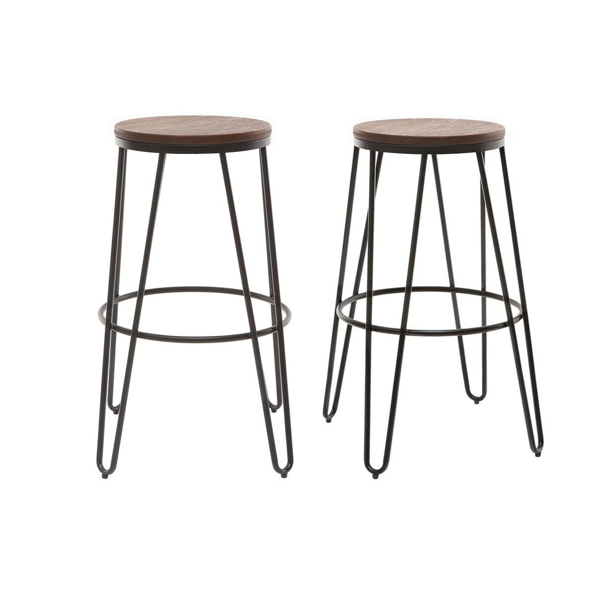 Tabourets De Bar Empilables En Metal En Bois H75 Cm Lot De 2 Igla Taille Taille Unique En 2019 Products Tabouret Table Bar Et Bar