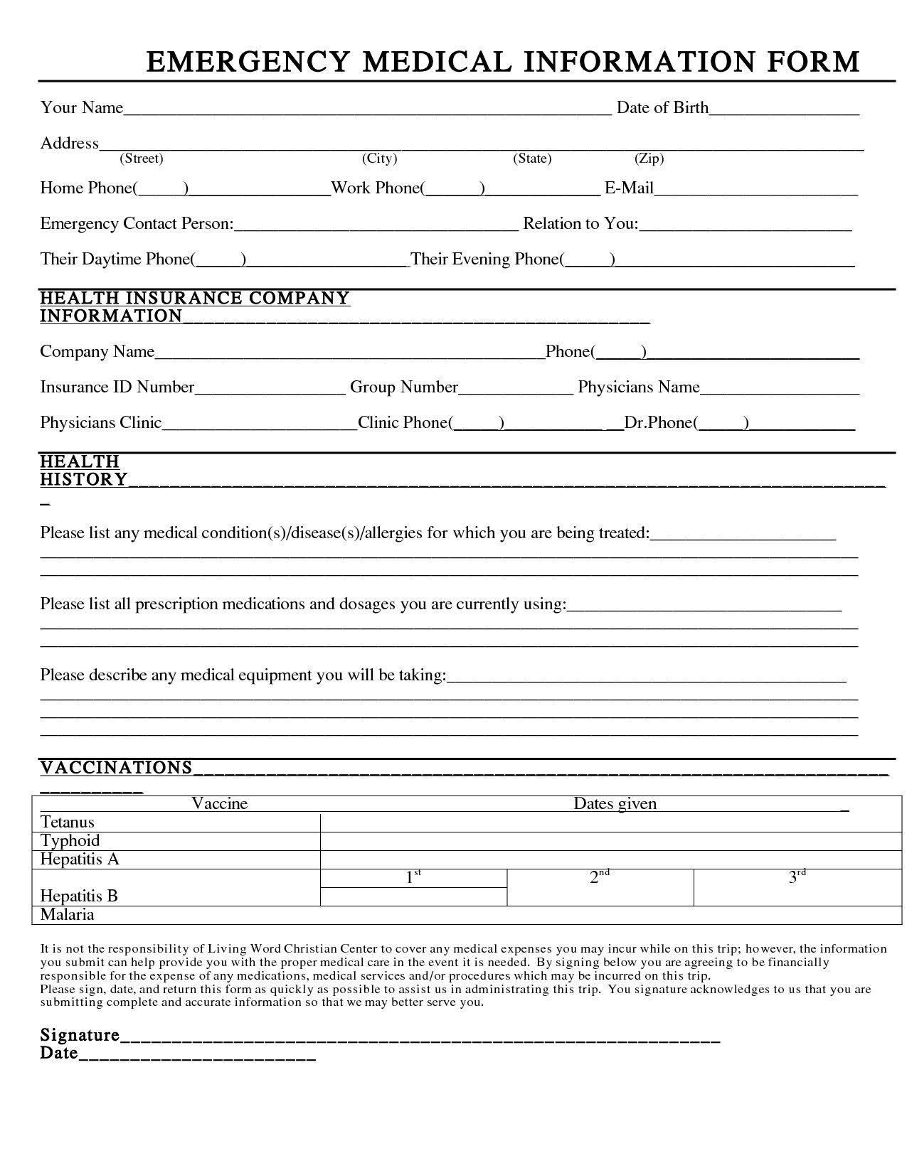 Medical Information Form Template Elegant Emergency Information