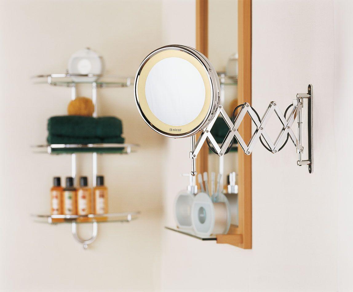 Kosmetikspiegel Beleuchtet Fur Die Wand Schminkspiegel Zum Ausziehen Und Schwenken 5 Fach Ve Schminkspiegel Schminkspiegel Beleuchtet Runde Badezimmerspiegel