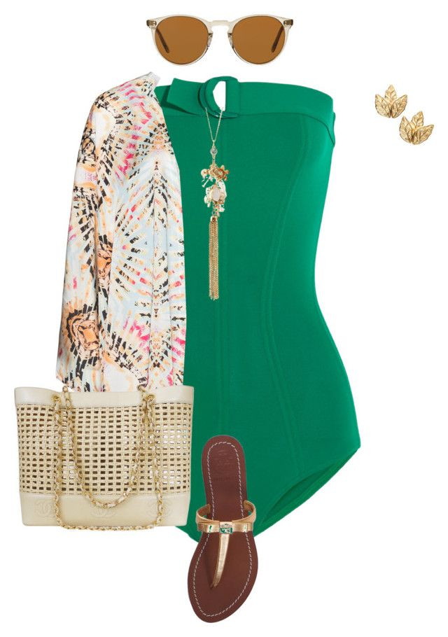 """""""plus size pool side diva"""" by kristie-payne ❤ liked on Polyvore featuring Eres, Tory Burch, Charlotte Russe, Mat, Chanel and Oliver Peoples"""