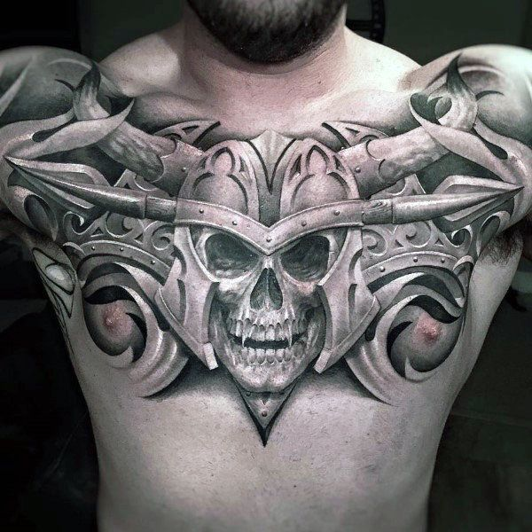 Guys Warrior Skull Helmet Upper Chest Tattoos Chest Tattoo Cool Chest Tattoos Skull Tattoos