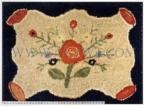 Antique Hooked Rug, Central Floral Motif,