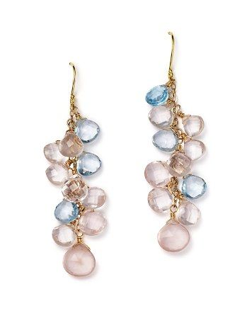 Rose Quartz And Blue Topaz Briolette Drop Earrings In 14k Yellow Gold