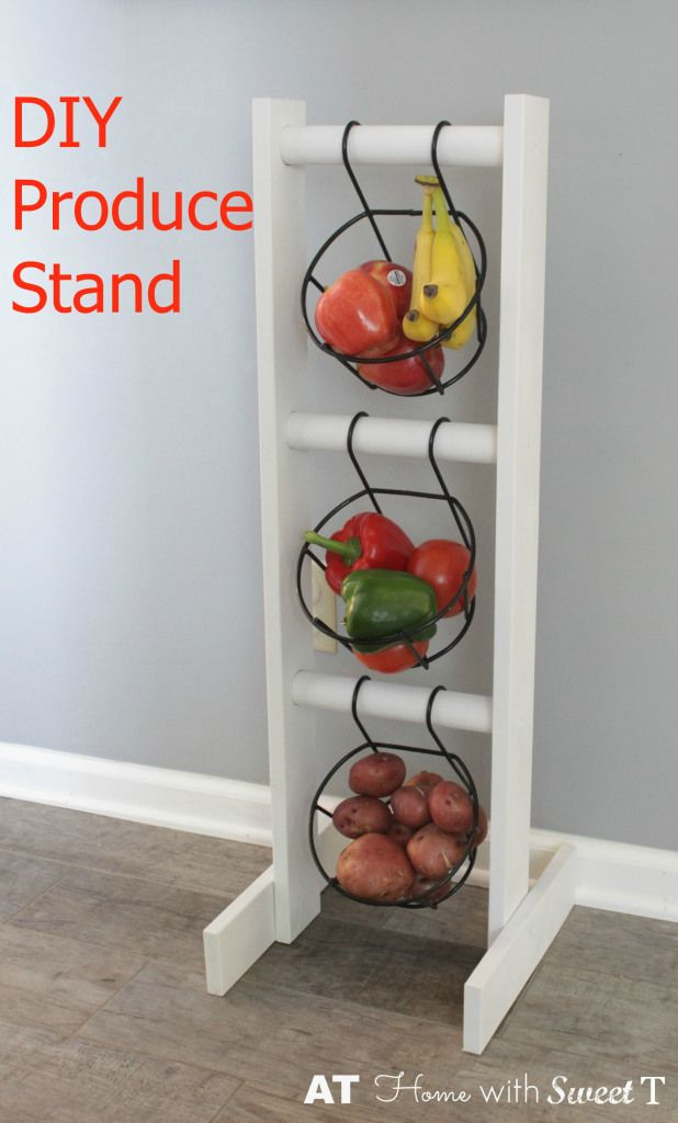 DIY Produce Stand- a one board project to hold your fresh fruits and vegetables.