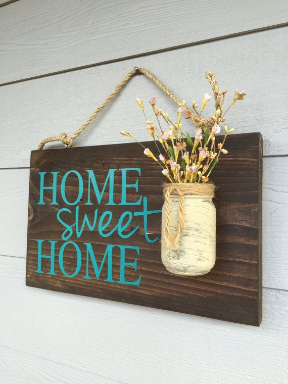 Wooden Signs For Home Decor Rustic Outdoor Teal Home Sweet Home  Wood Signs  Front Door Sign