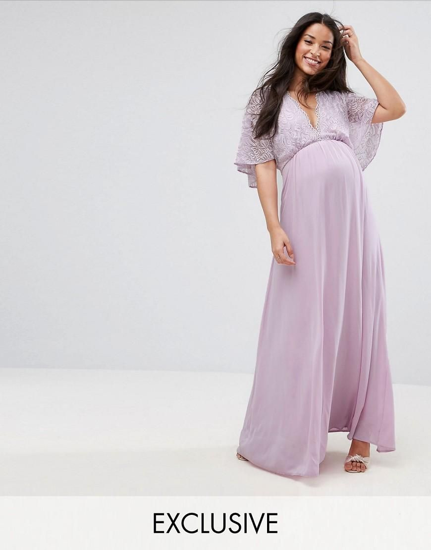 Asos queen bee queen bee maxi dress with fluted lace sleeve