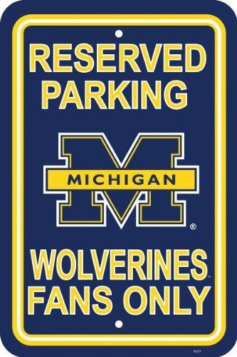 NCAA Michigan Wolverines 12-by-18 inch Plastic Parking Sign by BSI. $12.97. Printed with team logos. Made from plastic. Officially licensed NCAA Collegiate product.. Measures 12 by 18 inches. Show your team spirit proudly with this 12 by 18 inch Parking Sign. Each parking sign is made of durable styrene. The officially licensed parking sign is decorated in the team colors, great for decorating home, office or dorm.. Save 45%!