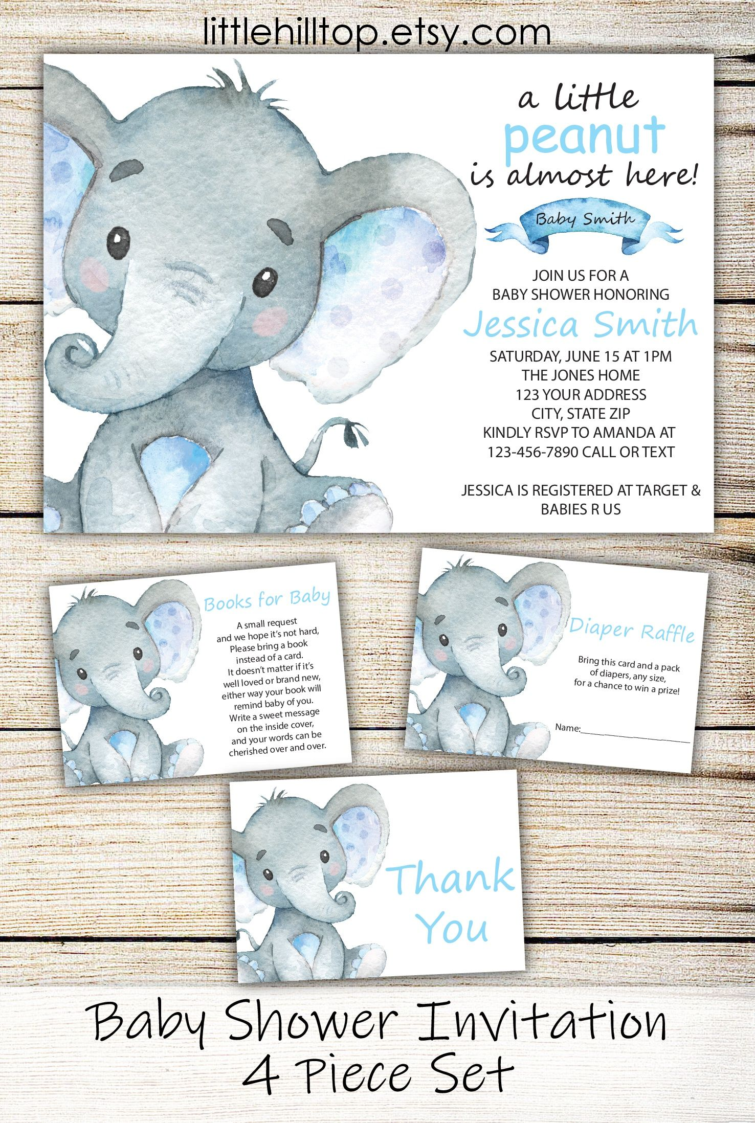 Adorable elephant invitation featuring baby elephant and