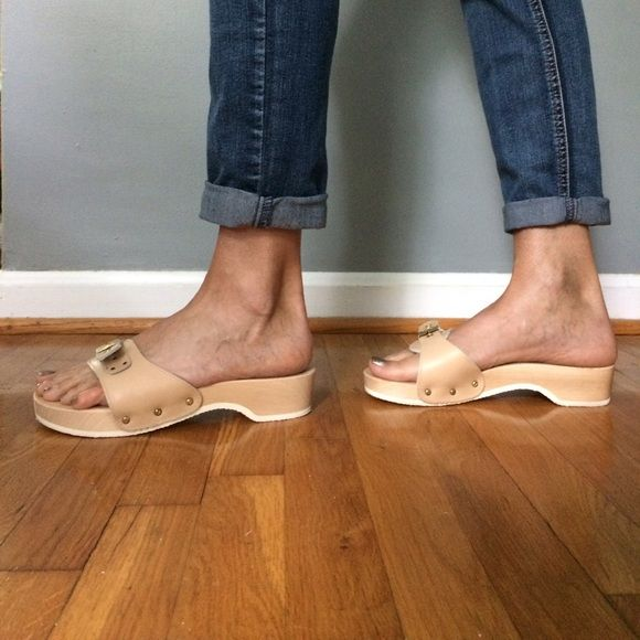 DR.SCHOLL PESCURA Heel Wood Mules with Buckle