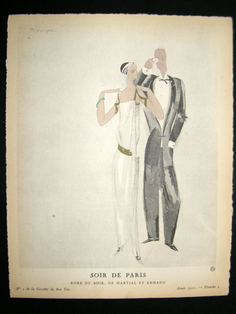 Soir De Paris Bon Ton By Mourgue 1922 Fashion Pochoir Lithograph Big Clearance Sale