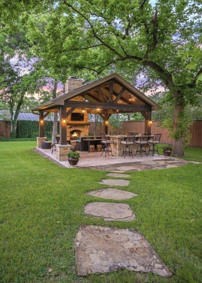 35 Beautiful Patio Design Ideas For Outdoor Kitchen Rustic Patio Backyard Fireplace Backyard Gazebo