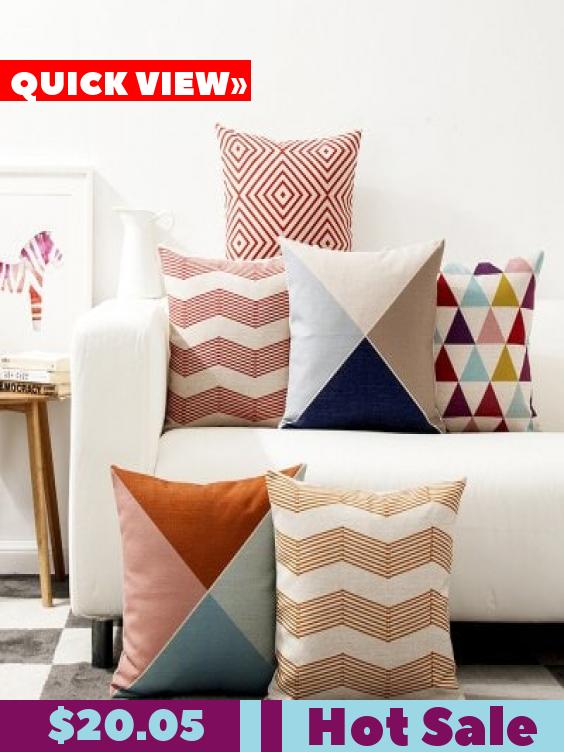 Set Cuscini Divano.Abstract Geometric Color Lines Nordic Modern Triangle Cute