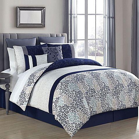 Abby 12 Piece Full Queen Comforter Set In Navy Grey Comforter Sets Bed Linen Design Bedroom Design Styles