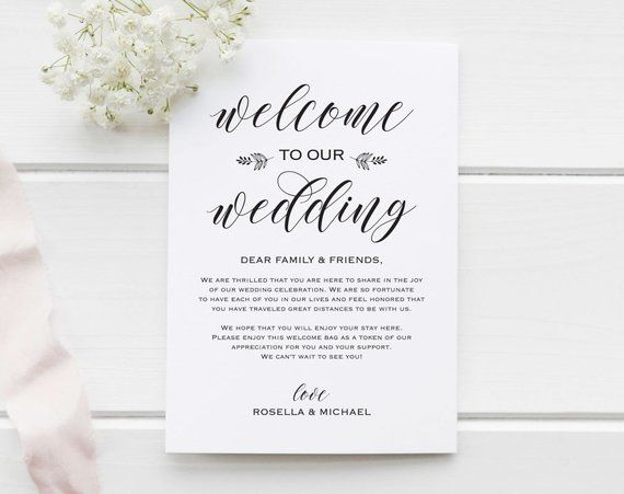 Wedding Welcome Bag Note Welcome Bag Letter Wedding Itinerary