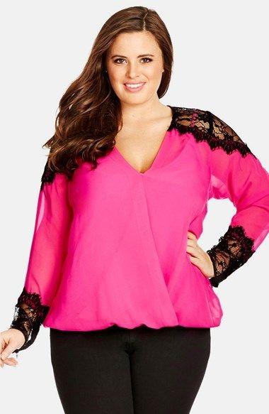 1f00b1721d2 Pretty in Pink! Plus Size Eyelash Lace Trim Top - Plus Size Fashion ...