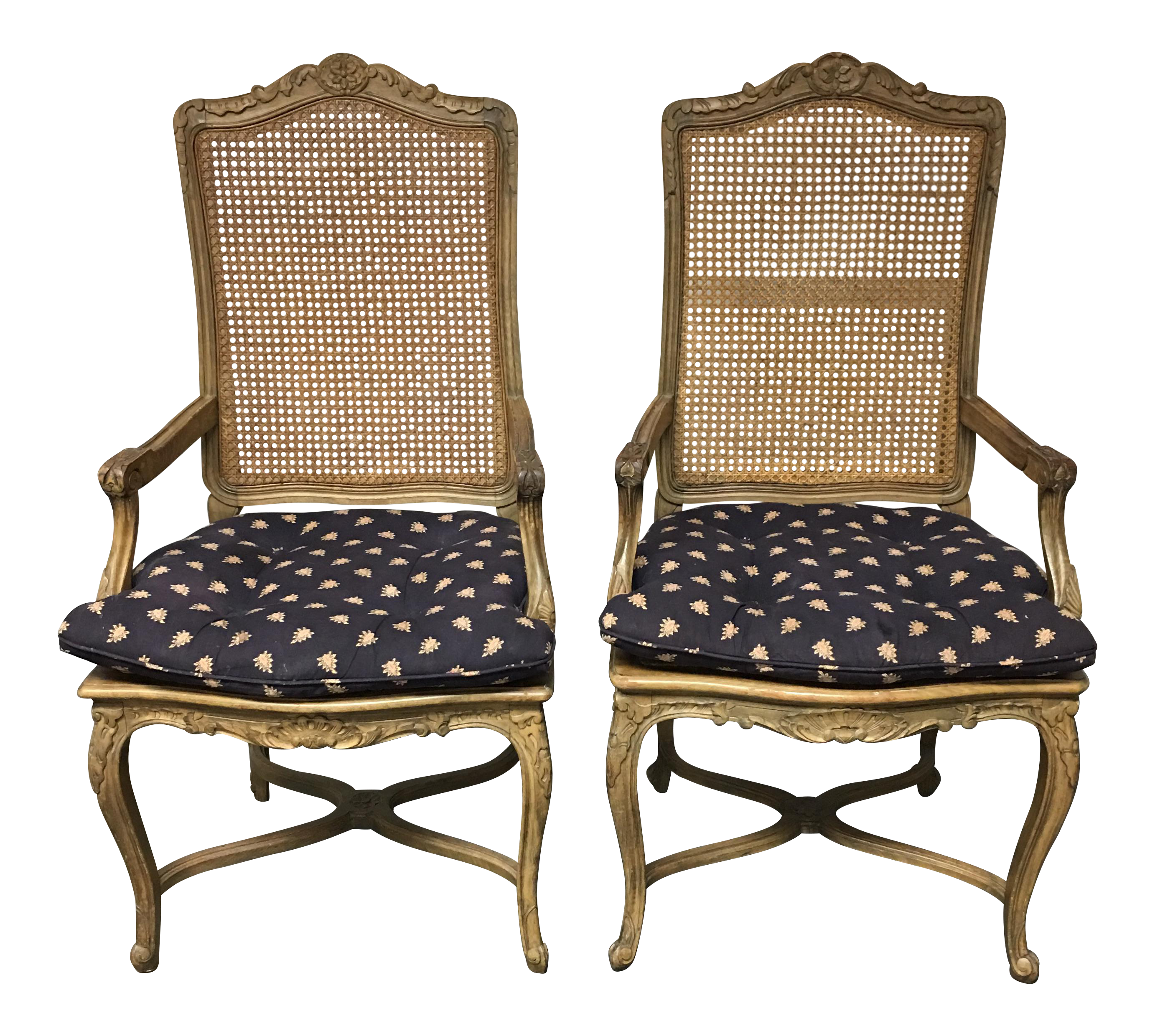 Queen Anne-Style Caned Armchairs - A Pair on Chairish.com  sc 1 th 213 & Queen Anne-Style Caned Armchairs - A Pair | Queen anne Armchairs ...