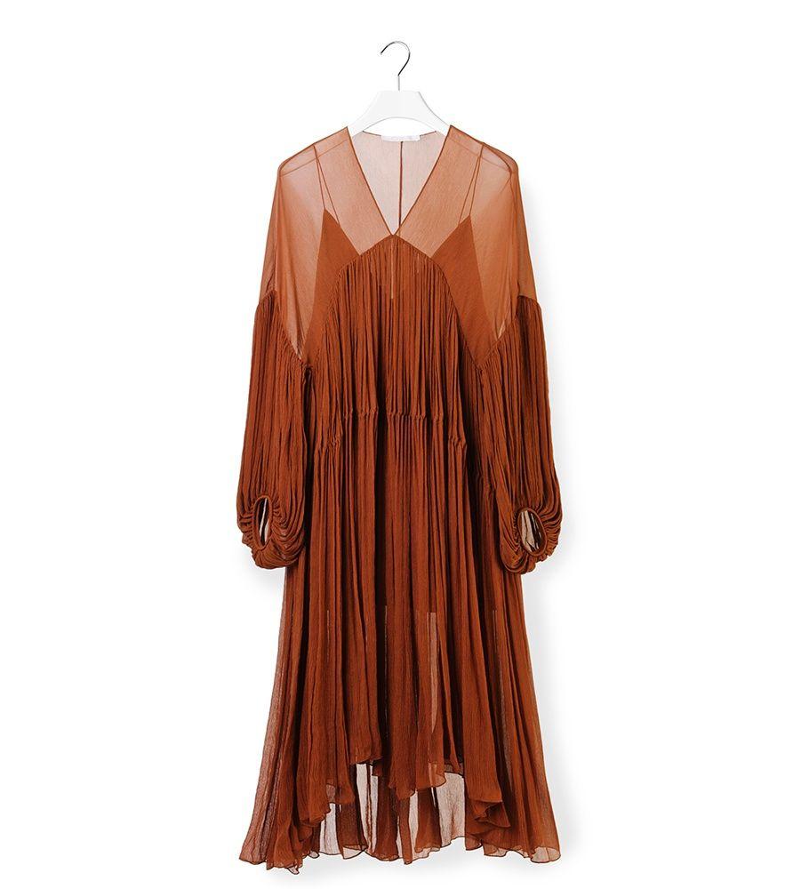 Chloe Vestido volantes color marrón