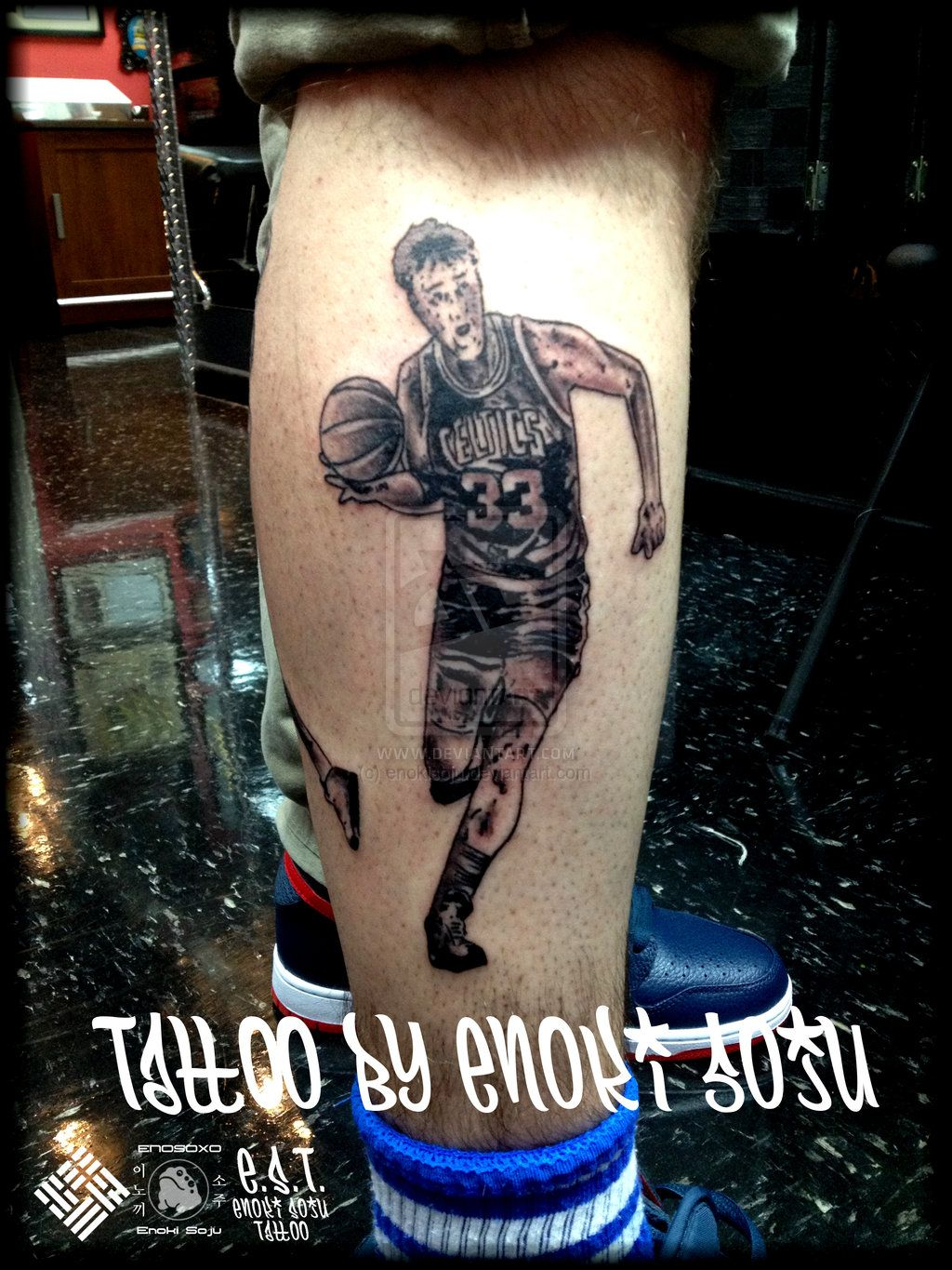 Larry Bird 33 Nba Tattoo By Enoki Soju By Enokisoju Deviantart Com