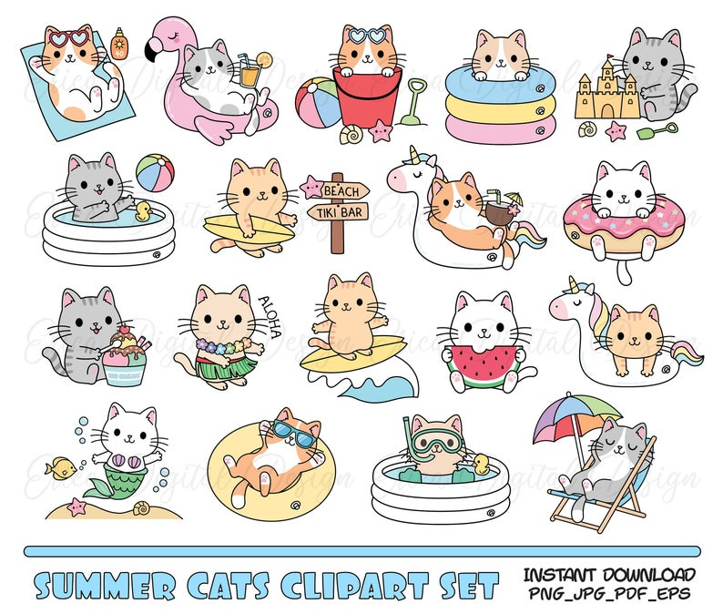 Cute Cat Clipart Set Summer Cats Beach Pool Party Digital Etsy Cat Clipart Clip Art Cute Animal Clipart