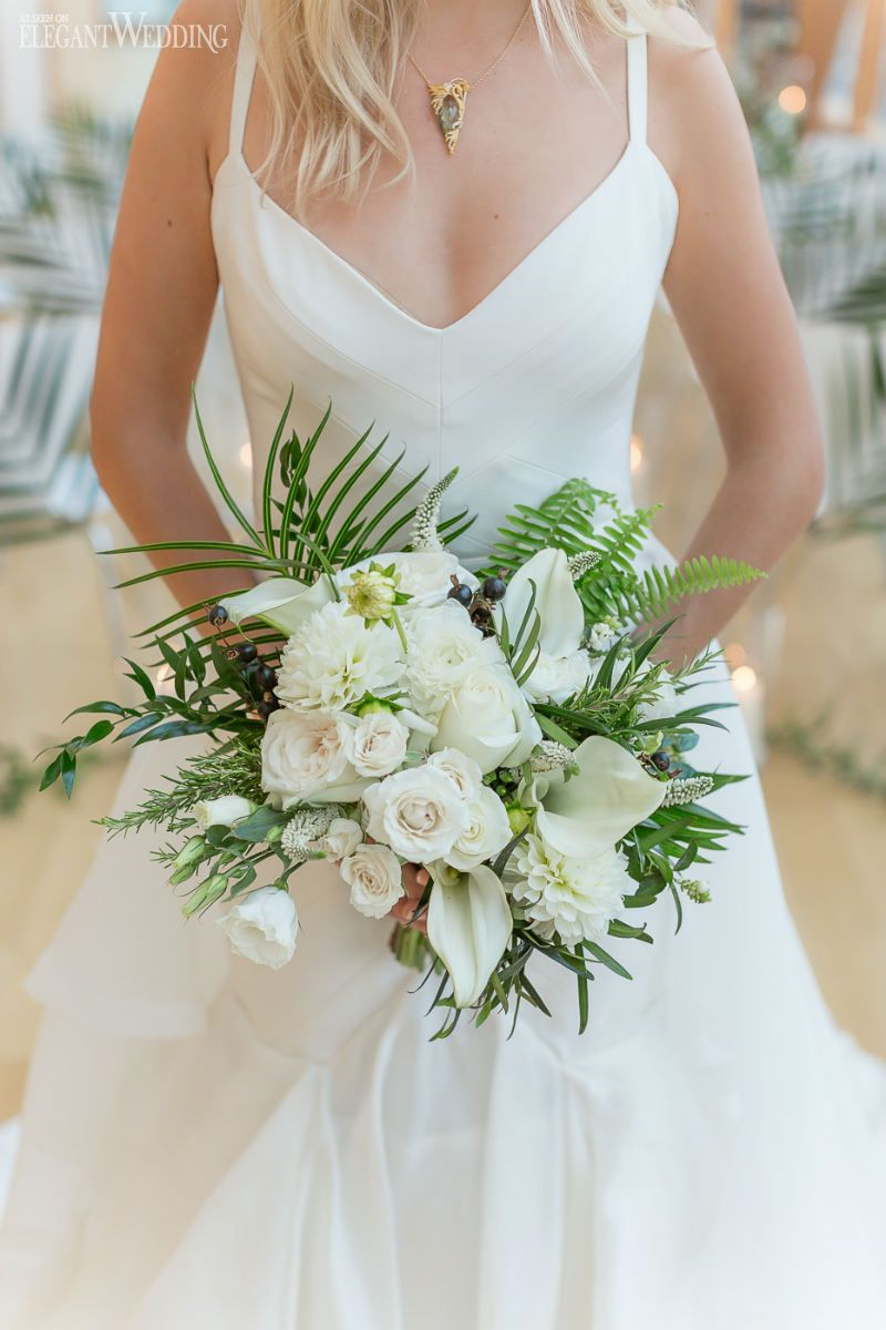Tropical Art Deco Wedding In Toronto White Wedding Bouquets